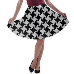 Houndstooth2 Black Marble & White Leather A Line Skater Skirt