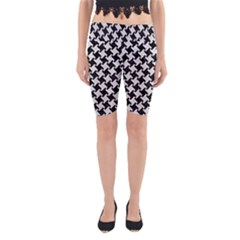 Houndstooth2 Black Marble & White Leather Yoga Cropped Leggings