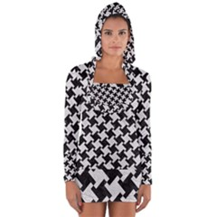 Houndstooth2 Black Marble & White Leather Long Sleeve Hooded T Shirt