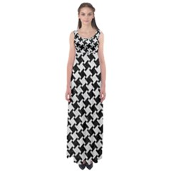 Houndstooth2 Black Marble & White Leather Empire Waist Maxi Dress