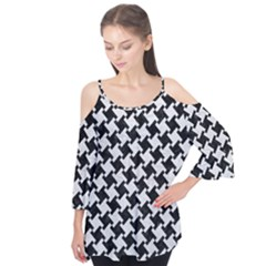 Houndstooth2 Black Marble & White Leather Flutter Tees