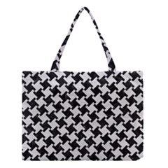 Houndstooth2 Black Marble & White Leather Medium Tote Bag