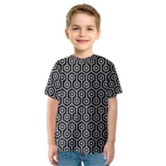 Hexagon1 Black Marble & White Leather (r) Kids  Sport Mesh Tee