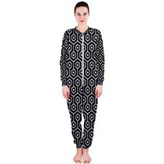 Hexagon1 Black Marble & White Leather (r) Onepiece Jumpsuit (ladies)