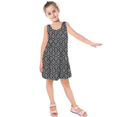 Hexagon1 Black Marble & White Leather (r) Kids  Sleeveless Dress