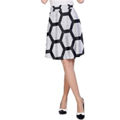 Hexagon2 Black Marble & White Leather A Line Skirt