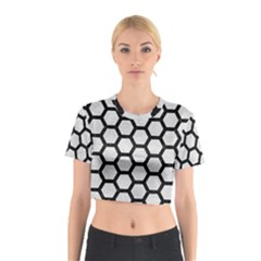 Hexagon2 Black Marble & White Leather Cotton Crop Top