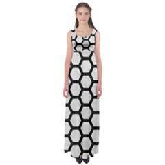 Hexagon2 Black Marble & White Leather Empire Waist Maxi Dress