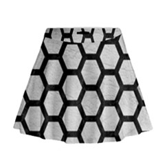 Hexagon2 Black Marble & White Leather Mini Flare Skirt