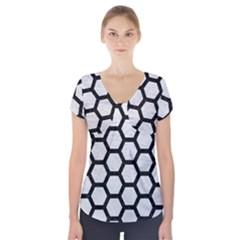 Hexagon2 Black Marble & White Leather Short Sleeve Front Detail Top