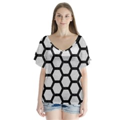 Hexagon2 Black Marble & White Leather V Neck Flutter Sleeve Top