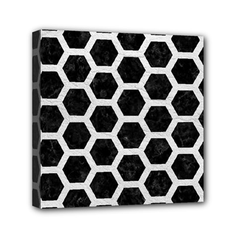 Hexagon2 Black Marble & White Leather (r) Mini Canvas 6  X 6