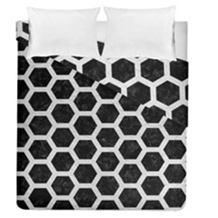 Hexagon2 Black Marble & White Leather (r) Duvet Cover Double Side (queen Size)
