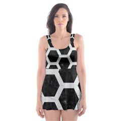 Hexagon2 Black Marble & White Leather (r) Skater Dress Swimsuit