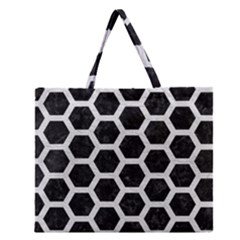 Hexagon2 Black Marble & White Leather (r) Zipper Large Tote Bag