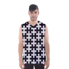 Puzzle1 Black Marble & White Leather Men s Basketball Tank Top