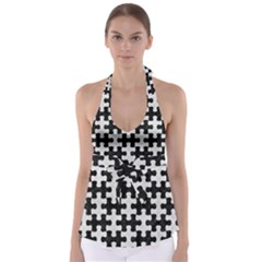 Puzzle1 Black Marble & White Leather Babydoll Tankini Top