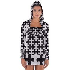 Puzzle1 Black Marble & White Leather Long Sleeve Hooded T Shirt