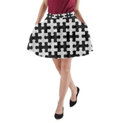 Puzzle1 Black Marble & White Leather A Line Pocket Skirt