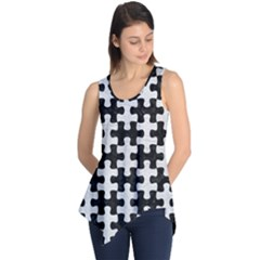 Puzzle1 Black Marble & White Leather Sleeveless Tunic