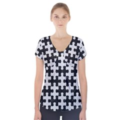 Puzzle1 Black Marble & White Leather Short Sleeve Front Detail Top