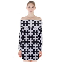Puzzle1 Black Marble & White Leather Long Sleeve Off Shoulder Dress