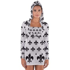 Royal1 Black Marble & White Leather (r) Long Sleeve Hooded T Shirt