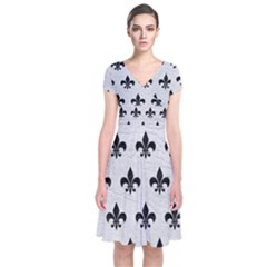 Royal1 Black Marble & White Leather (r) Short Sleeve Front Wrap Dress