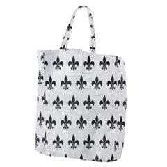 Royal1 Black Marble & White Leather (r) Giant Grocery Zipper Tote