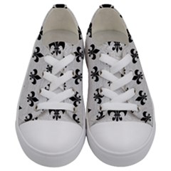 Royal1 Black Marble & White Leather (r) Kids  Low Top Canvas Sneakers