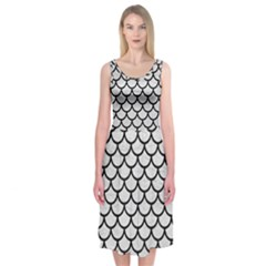 Scales1 Black Marble & White Leather Midi Sleeveless Dress