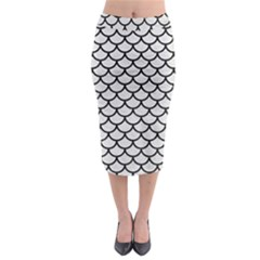 Scales1 Black Marble & White Leather Midi Pencil Skirt