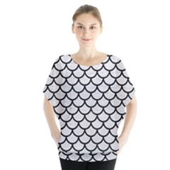 Scales1 Black Marble & White Leather Blouse