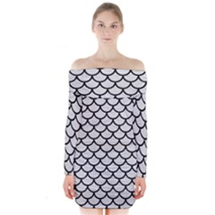 Scales1 Black Marble & White Leather Long Sleeve Off Shoulder Dress