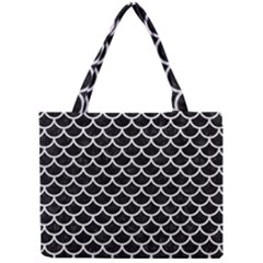 Scales1 Black Marble & White Leather (r) Mini Tote Bag