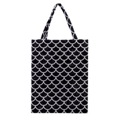 Scales1 Black Marble & White Leather (r) Classic Tote Bag