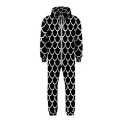 Scales1 Black Marble & White Leather (r) Hooded Jumpsuit (kids)