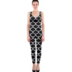 Scales1 Black Marble & White Leather (r) Onepiece Catsuit