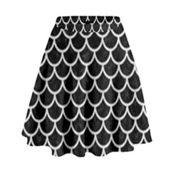 Scales1 Black Marble & White Leather (r) High Waist Skirt
