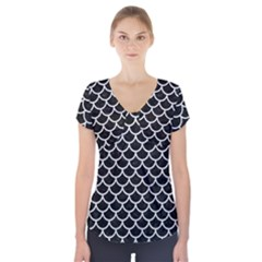Scales1 Black Marble & White Leather (r) Short Sleeve Front Detail Top