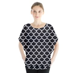 Scales1 Black Marble & White Leather (r) Blouse