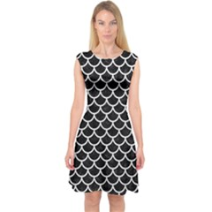 Scales1 Black Marble & White Leather (r) Capsleeve Midi Dress