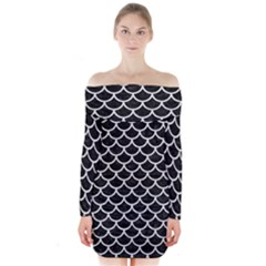 Scales1 Black Marble & White Leather (r) Long Sleeve Off Shoulder Dress