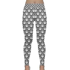 Scales2 Black Marble & White Leather Classic Yoga Leggings