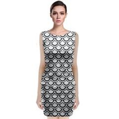 Scales2 Black Marble & White Leather Classic Sleeveless Midi Dress