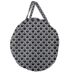 Scales2 Black Marble & White Leather (r) Giant Round Zipper Tote