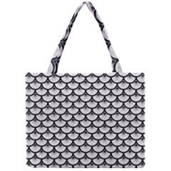 Scales3 Black Marble & White Leather Mini Tote Bag