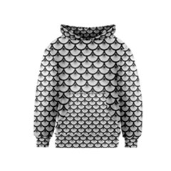 Scales3 Black Marble & White Leather Kids  Pullover Hoodie