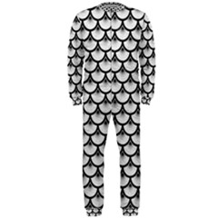 Scales3 Black Marble & White Leather Onepiece Jumpsuit (men)