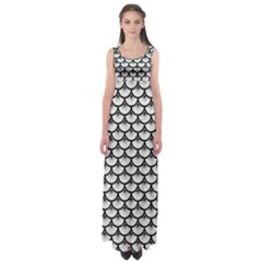 Scales3 Black Marble & White Leather Empire Waist Maxi Dress